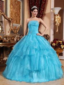 Ruched Blue Organza Floor Length Dresses 15 with Beading Ruffles