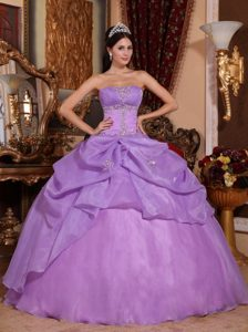 Lavender Organza Strapless Dresses 15 with Appliques and Pick ups