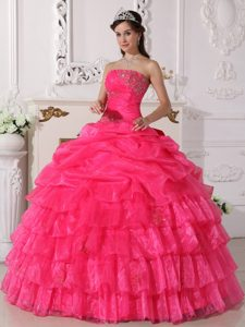 Naucalpan De Juarez Mexico Applqiued Ruffled Hot Pink Dresses 15