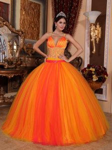 Beaded Waist Orange Red Quinceanera Gown Dress Spaghetti Straps
