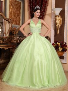 Beading V-neck Criss Cross Quinceanera Gown Dress in Yellow Green