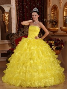 Beaded Bright Yellow Quinceanera Gown Dress with Ruffled Layers