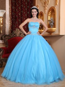 Culiacan Mexico Aqua Blue Quinceanera Gown Dresses with Appliques