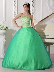 Spring Green Ball Gown Dresses for A Quince with Beading on Sale