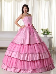 Rose Pink Ball Gown Dresses for A Quince with Flowers and Layers