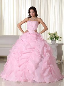 Beading and Ruffles Accent Dresses for A Quince in Baby Pink 2013