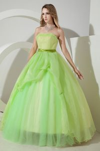 Spring Green Organza Sash Dresses for A Quince of Floor Length