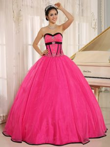 Beaded Hot Pink Organza Dresses for A Quince with Black Frills
