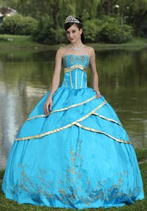 Mexicali Mexico Appliqued Frilly Aqua Blue Dresses for A Quince