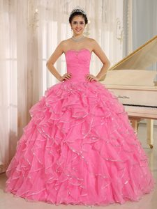 Frilly Ruffles Beading Organza Sweet Sixteen Dresses in Rose Pink