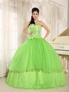 Beaded Bowknot Strapless Spring Green Sweet Sixteen Dresses 2013