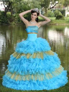 Beading and Ruffled Layers Accent Sweet Sixteen Dresses in Blue