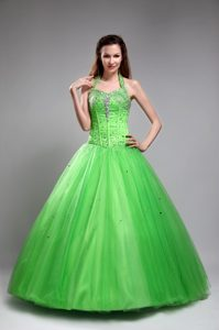 Spring Green Halter Floor Length Sweet Sixteen Dresses with Beading
