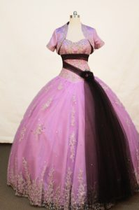 Lavender Strapless Sash Quinceanera Dress with Applique and Jacket