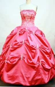 Strapless Appliques and Pick-ups Floor-length Hot Pink Dresses For 15