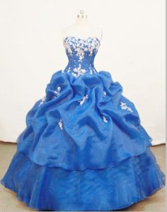 Organza Sweetheart Appliques Pick Ups Ruched Quinceanera Dresses