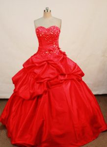 Sweetheart Appliques Pick-ups Red Floor Length Quinceanera Gown