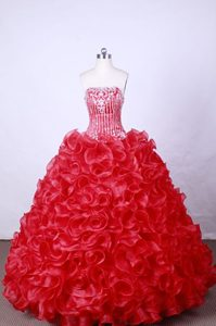 Ruffles Strapless Beading Appliques Hot Pink Quinceanera Dresses