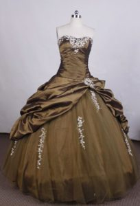 Strapless Applique Beading Pick Ups Brown Lace Up Sweet 16 Dress
