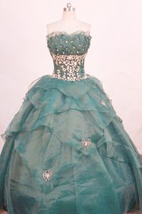 Strapless Ruffled Appliques Layers Dark Green Quinceanera Dress