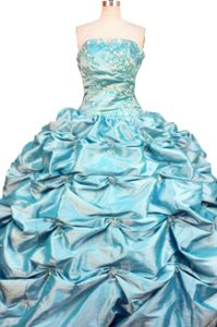 Affordable Pick-ups and Beading Strapless Blue Quinceanera Dresses