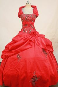 Wonderful Red Wrap Neckline Quinceanera Dresses with Embroidery