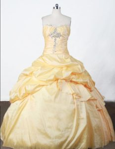 Beading and Pick-ups Strapless Appliques Quincianera Dresses in Yellow