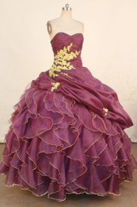 Dark Purple Ruche Sweetheart Ruffles and Appliques Quinceanera Dress
