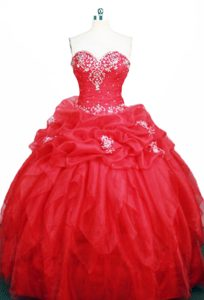 Modest Beading Sweetheart Red Organza Appliques Sweet 15 Dresses