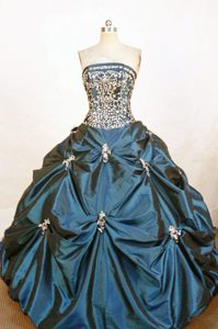 Beading and Appliques Taffeta Pick-ups Quinceaneras Dress in Navy Blue