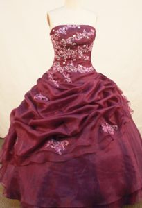 Burgundy New Style Quinceanera Dress with Pick-ups and Beading