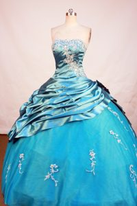 Blue Beading Popular Strapless Dresses Quinceanera with Appliques