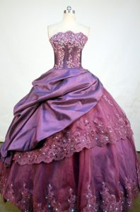 Purple Asymmetrical Neckline Beading and Appliques Dresses For a Quince