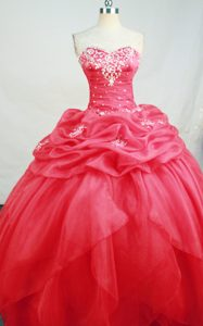 Beading and Appliques Sweetheart Quinceanera Dresses in Hot Pink