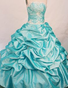 Ruche and Beading Strapless Quinceanera Gowns in Blue with Pick-ups