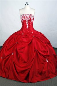 Appliques and Pick-ups Strapless Beading Taffeta Quinceanera Dresses in Red