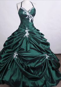 Halter Taffeta Quinceanera Dresses with Pick-ups and Beading in Dark Green