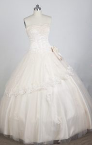 Champagne Sweetheart Taffeta Quinceanera Dress with Appliques
