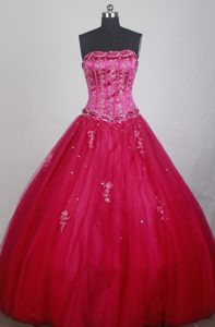 Red Boning Details Dresses for Quinceaneras with Beading Sash