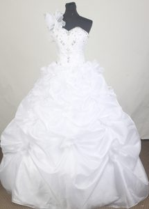 One Shoulder with Ruffles and Beaded Quinceanera Dress in White
