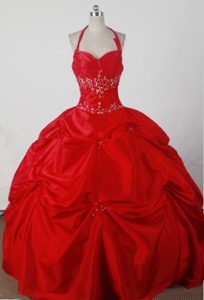 Halter Sweet Sixteen Quinceanera Dresses in Red Embellished Ruffles