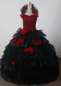 Tucks and Flower Halter and Tulle Sweet 15 Dresses in Black and Red