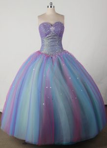 Colorful Ruched Quinceanera Gown Dress like Rainbow with Beading
