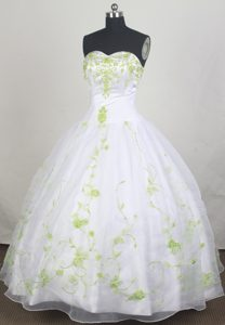 Spring Green Appliques Ball Gown Sweet Sixteen Dresses in White