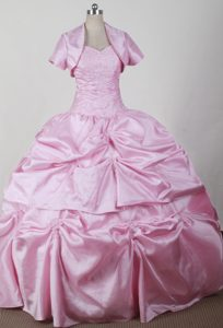 Pink Layers Ball Gown Dresses for A Quinceanera Embellished Coat