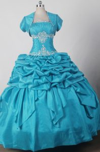 Turquoise Quniceanera Dress with Jacket and Beaded Appliques