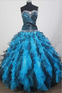 Black and Aqua Blue Quinceanera Dresses with Beading and Ruffles