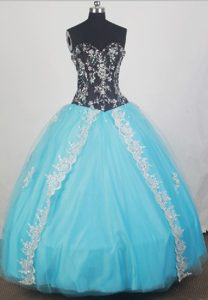 Black and Aqua Blue Beaded Dresses for Quince with White Appliques