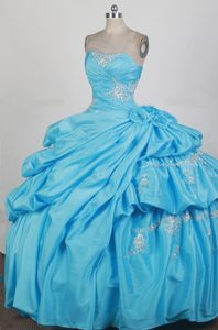 Aqua Blue Quinceanera Dress with Beading Appliques and Flowers