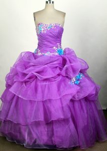 Sweetheart Appliqued 2014 Purple and Blue Quinceanera Gown